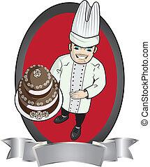 cozinheiro, bolo, massa, segurando, chocolate
