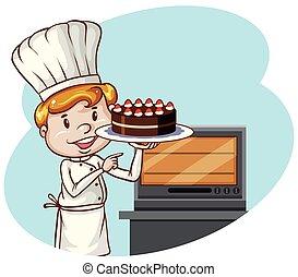 cozinheiro, bolo, panificadora, assando