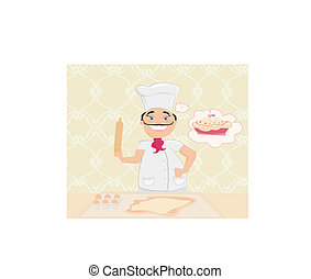cozinheiro, bolo, preparar