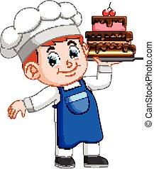 cozinheiro, bolo, segura, bandeja, jovem