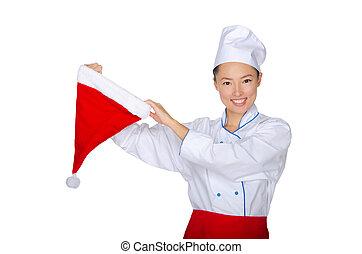 cozinheiro, boné, claus, asiático, santa