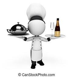 cozinheiro, branca, 3d, pessoas