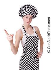 cozinheiro, branca, isolado, femininas