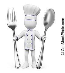 cozinheiro, branca, pessoas., 3d