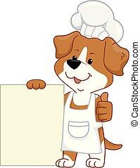 cozinheiro, cão, ilustração, tábua