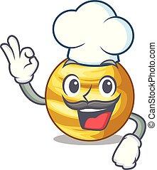 cozinheiro, céu, planeta, acima, venus, caricatura, raio