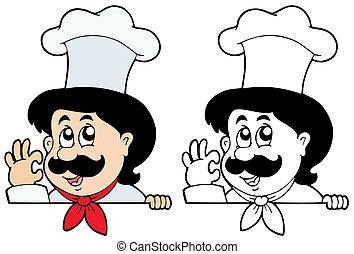 cozinheiro, caricatura, espreitando