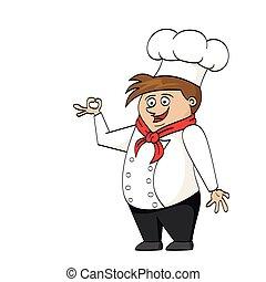 cozinheiro, caricatura, ilustração