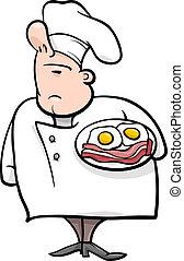 cozinheiro, caricatura, ilustração, inglês