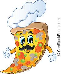 cozinheiro, caricatura, pizza