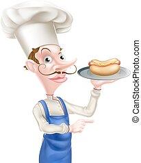 cozinheiro, caricatura, segurando, hotdog