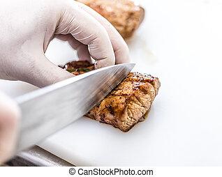 cozinheiro, carne cortante