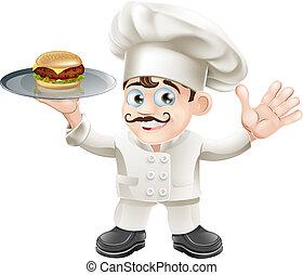 cozinheiro, cheeseburger