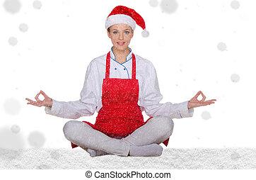 cozinheiro, claus, chapéu, neve, santa
