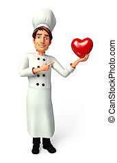 cozinheiro, com, coração vermelho