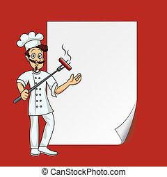 cozinheiro, com, em branco, papel
