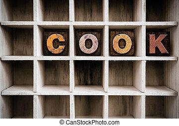 cozinheiro, conceito, madeira, letterpress, tipo, em, desenhar