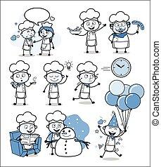 cozinheiro, conceitos, vetorial, ilustrações, -, jogo, diferente, caricatura