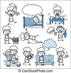 cozinheiro, conceitos, vetorial, ilustrações, -, jogo, vário, caricatura