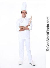 cozinheiro, confiante, branca, massa, fundo