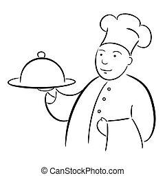 cozinheiro, cozinheiro, com, bandeja, caligrafia, desenho