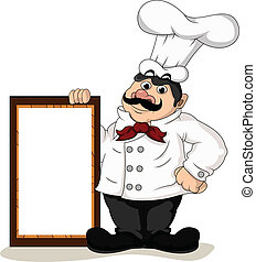 cozinheiro, cozinheiro, com, em branco, tábua