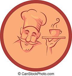 cozinheiro, cozinheiro, em, quadro