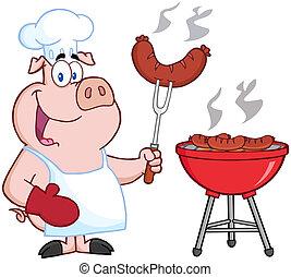 cozinheiro, cozinheiro, feliz, churrasco, porca