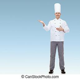 cozinheiro, cozinheiro, feliz, convidando, macho