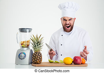 cozinheiro, cozinheiro, frutas, tabela, sentando