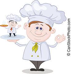 cozinheiro, cozinheiro, pequeno, caricatura, pizza