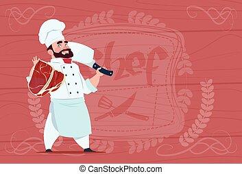 cozinheiro, cozinheiro, segurando, cleaver, faca, e, carne,...