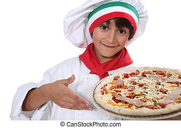 cozinheiro, criança,  pizza