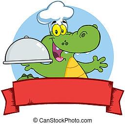 cozinheiro, crocodilo, platter, segurando