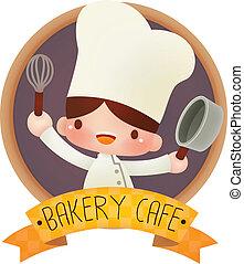 cozinheiro, cute, caricatura