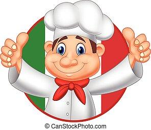 cozinheiro, dar, polegar, caricatura, cima