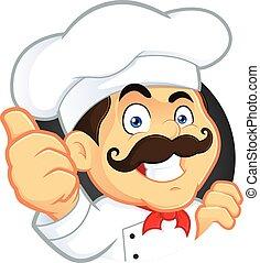 cozinheiro, dar, polegares cima