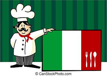 cozinheiro, de, cozinha italiana