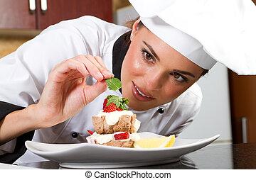 cozinheiro, decorando, alimento