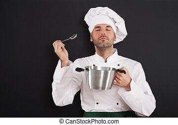 cozinheiro, desfrutando, refeição, aroma