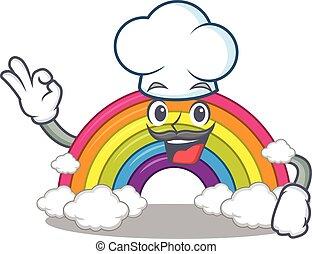 cozinheiro, desgastar, chapéu, arco íris, desenho, branca, estilo, caricatura