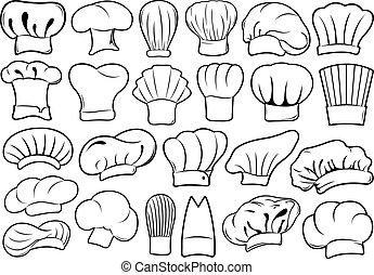 cozinheiro, diferente, jogo, chapéus