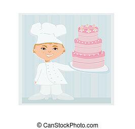 cozinheiro, doce, bolo