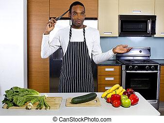 cozinheiro, doméstico, marido, aprendizagem