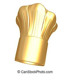 cozinheiro, dourado, chapéu