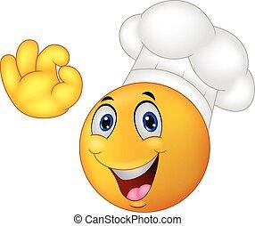 cozinheiro, emoticon, smiley, caricatura