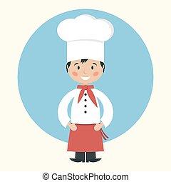 cozinheiro, engraçado, cozinheiro, caricatura