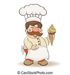 cozinheiro, engraçado, icecream