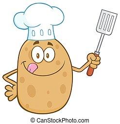 cozinheiro, espátula, segurando, batata