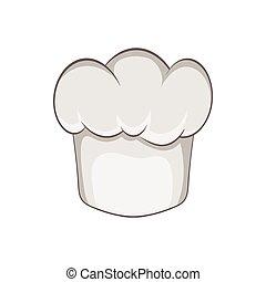 cozinheiro, estilo, chapéu, caricatura, ícone